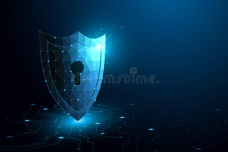 Cyber security concept Shield With Keyhole icon on digital data background. eps10. Cyber security concept Shield With Keyhole icon on digital data background royalty free illustration