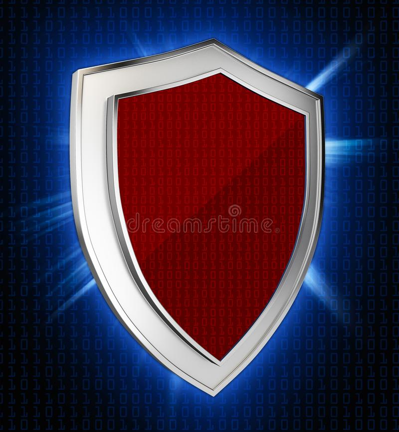 Cyber security concept: Shield With rays on abstract background royalty free illustration