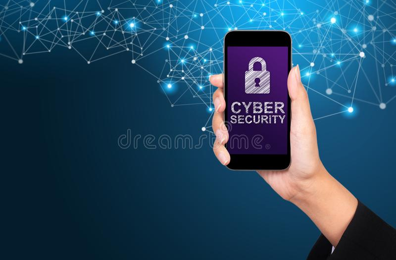 Cyber security concept. Cyber security on smartphone screen in b stock photos
