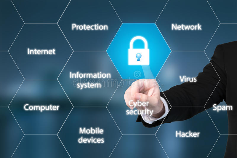 Cyber security concept on virtual screen stock images