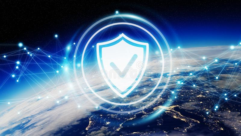 Cyber security on planet Earth 3D rendering vector illustration
