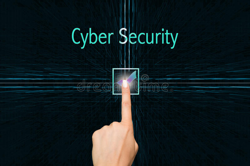 Cyber security. Cybersecurity concept, finger presses the button