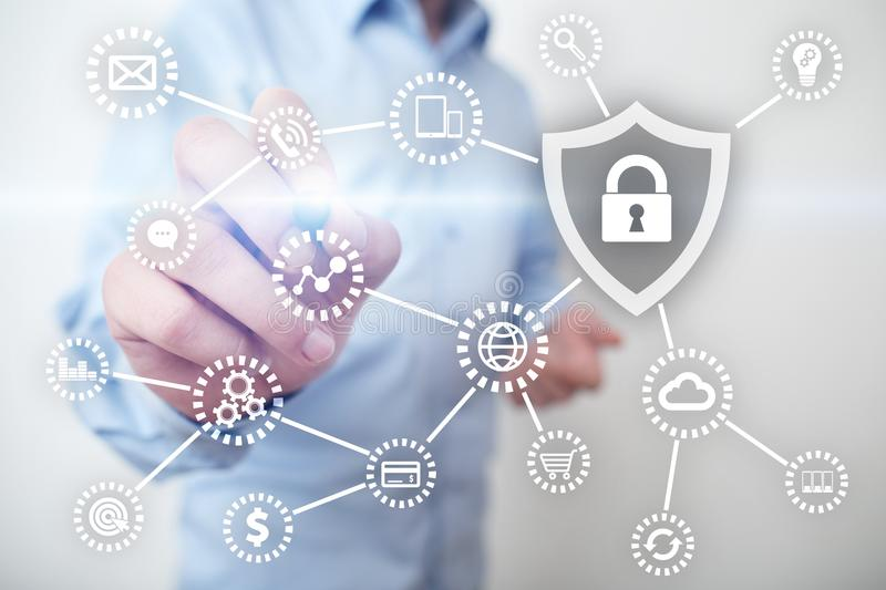 Cyber security, Data protection, information safety and encryption. internet technology and business concept. Virtual screen with padlock icons royalty free stock images