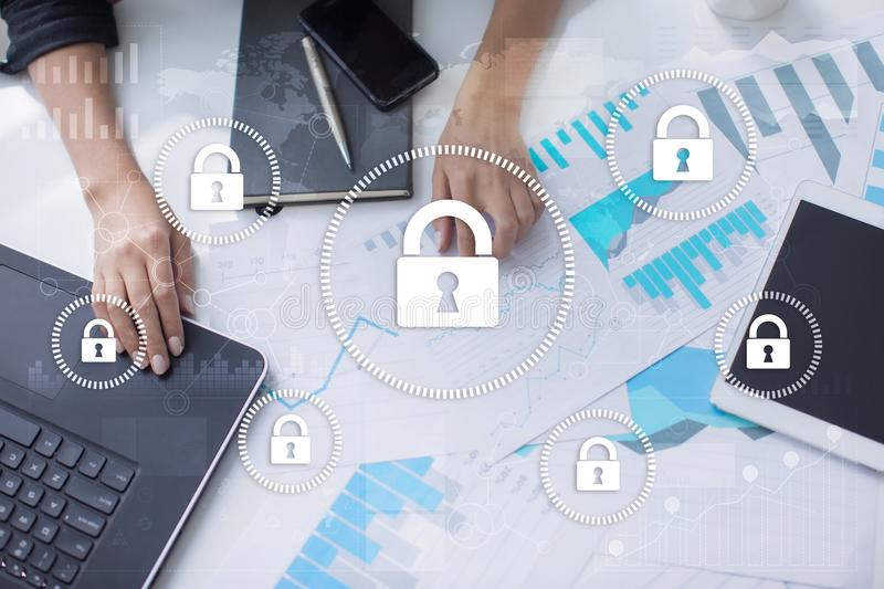 Cyber security, Data protection, information safety and encryption. internet technology and business concept. royalty free stock photos