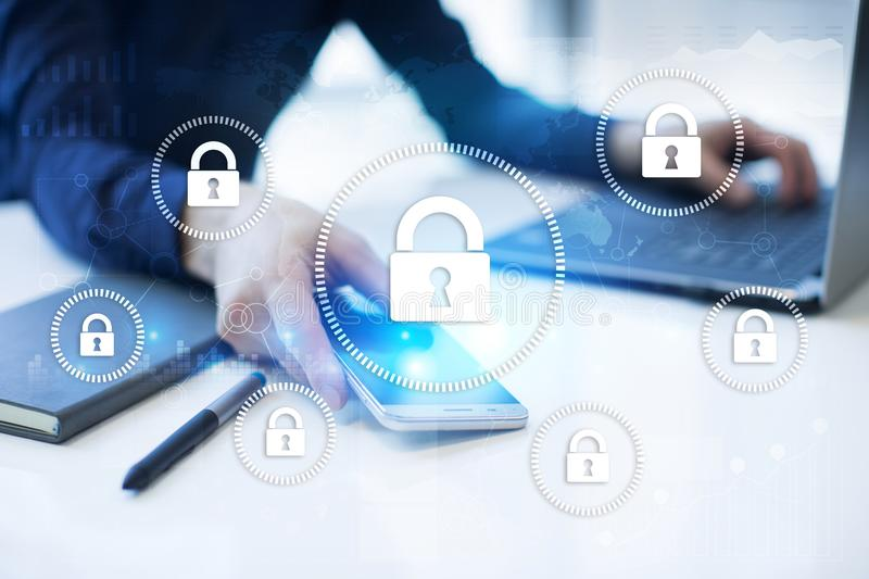 Cyber security, Data protection, information safety and encryption. internet technology and business concept. Virtual screen with padlock icons vector illustration