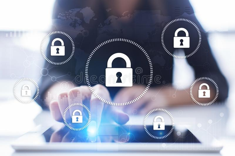 Cyber security, Data protection, information safety and encryption. Internet technology and business concept. Virtual screen with padlock icons royalty free illustration