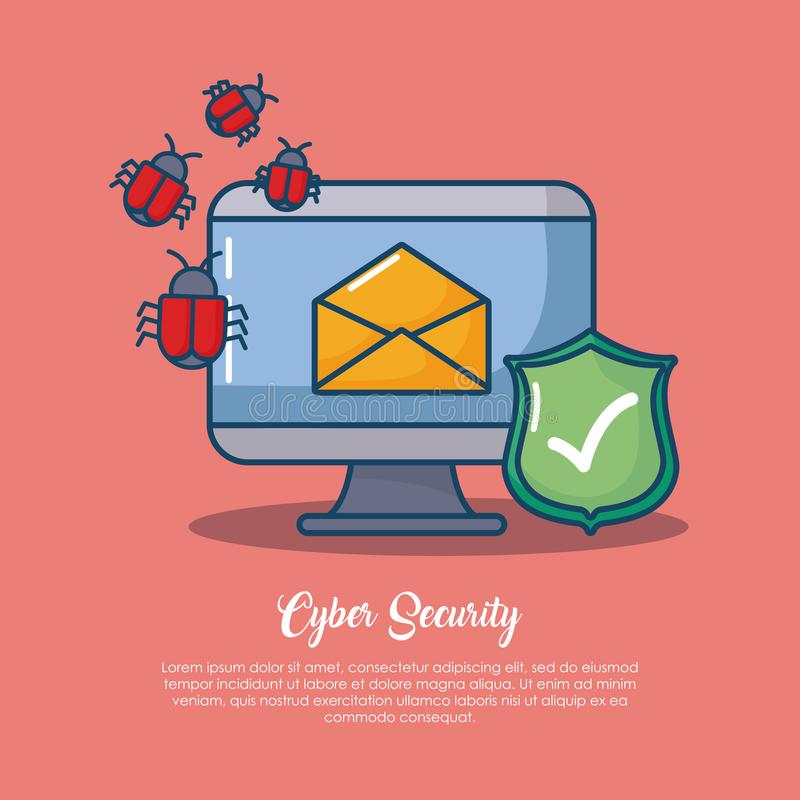 Cyber security design. With computer with envelope and related icon over red background, colorful design vector illustration royalty free illustration