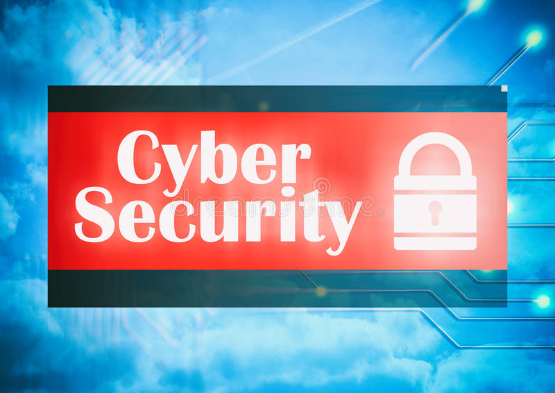 Cyber security on electronic circuit background. 3d illustration stock illustration