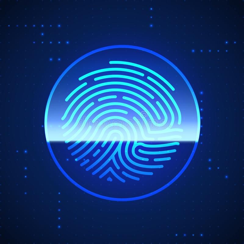 Cyber Security Finger Print Scanned. Fingerprint Scanning Identification System. Biometric Authorization and Security Concept. Vector illustration stock illustration
