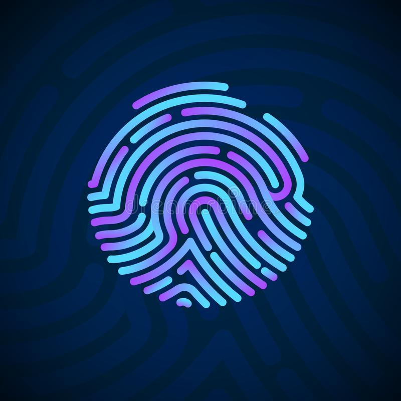 Cyber Security Finger Print Scanned. Fingerprint Scanning Identification System. Biometric Authorization and Security Concept. Vector illustration on dark vector illustration