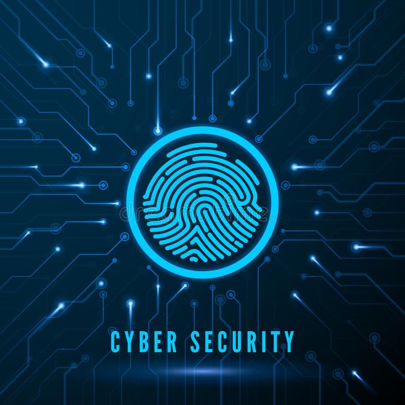 Cyber Security. Fingerprint Scanning Identification System. Finger Print on Circuit. Biometric Authorization and Security Concept royalty free illustration