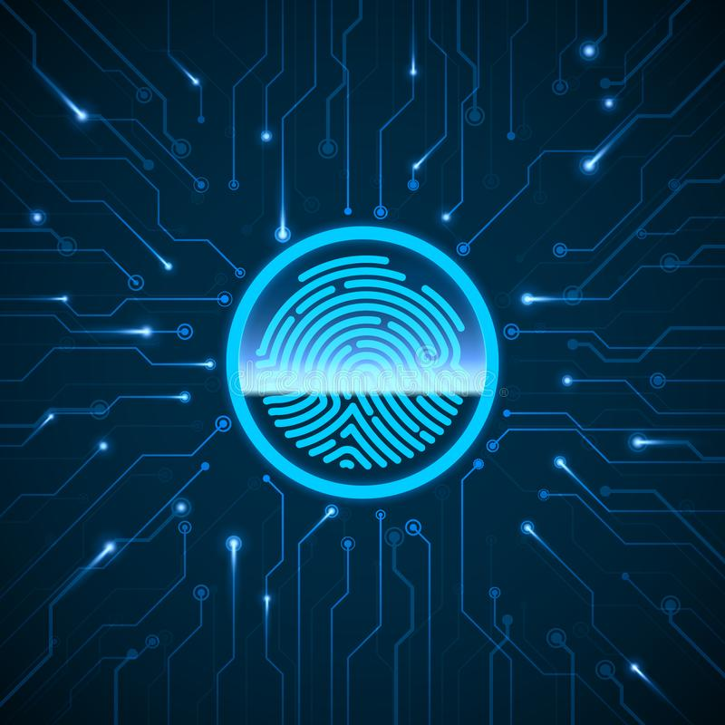 Cyber Security. Fingerprint Scanning Identification System. Finger Print Scanned on Circuit. Biometric Authorization. And Security Concept. Vector illustration stock illustration