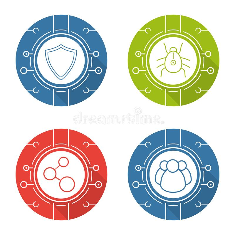 Cyber security flat design long shadow icons set stock illustration