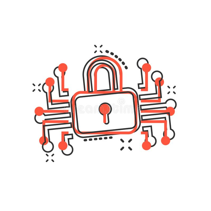 Cyber security icon in comic style. Padlock locked vector cartoon illustration on white isolated background. Closed password vector illustration