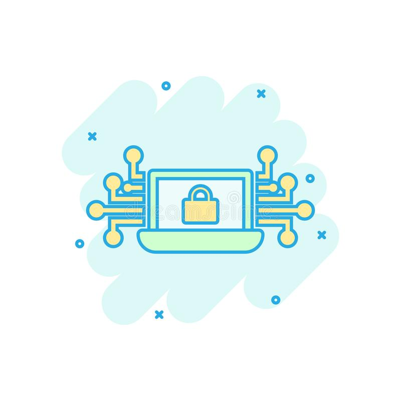 Cyber security icon in comic style. Padlock locked vector cartoon illustration on white isolated background. Laptop business stock illustration