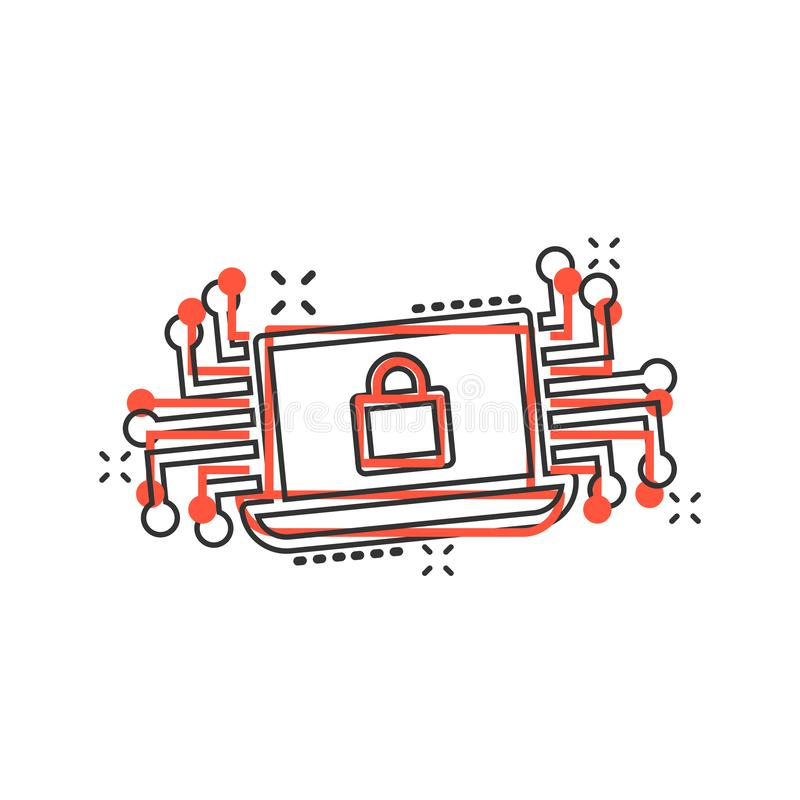 Cyber security icon in comic style. Padlock locked vector cartoon illustration on white isolated background. Laptop business vector illustration
