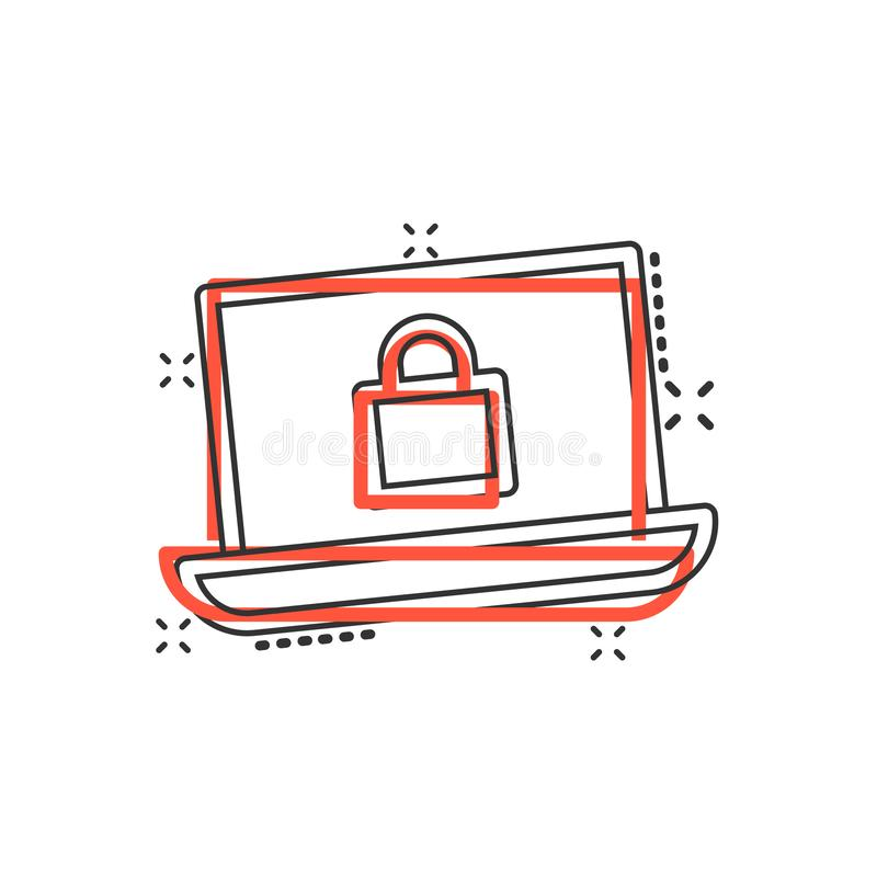 Cyber security icon in comic style. Padlock locked vector cartoon illustration on white isolated background. Laptop business royalty free illustration