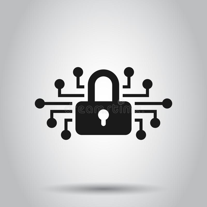 Cyber security icon in flat style. Padlock locked vector illustration on isolated background. Closed password business concept stock illustration