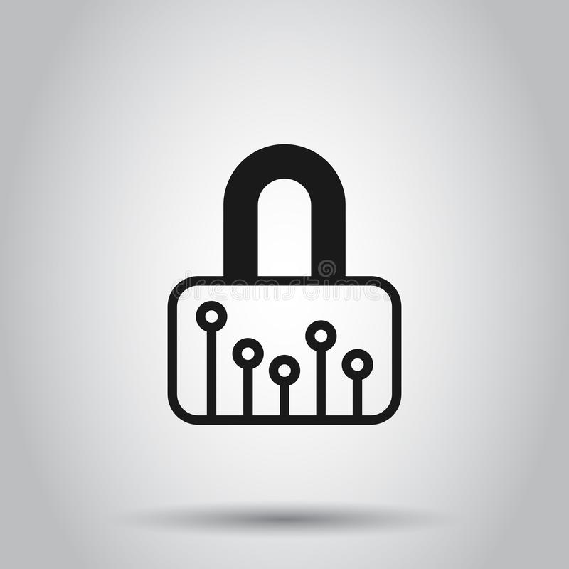 Cyber security icon in flat style. Padlock locked vector illustration on isolated background. Closed password business concept royalty free illustration