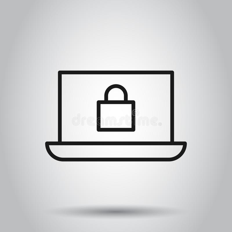 Cyber security icon in flat style. Padlock locked vector illustration on isolated background. Laptop business concept royalty free illustration