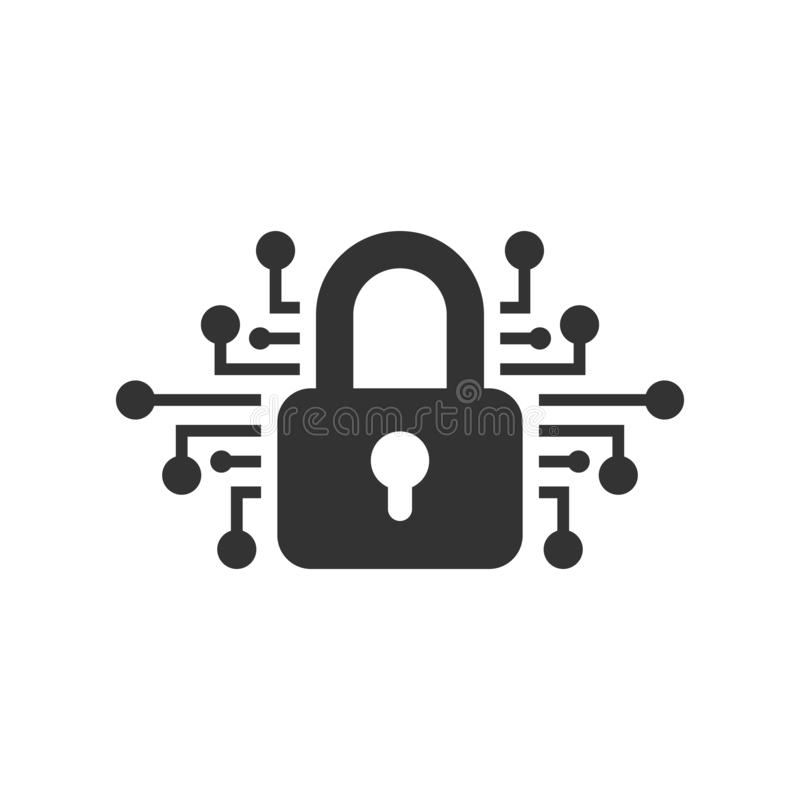 Cyber security icon in flat style. Padlock locked vector illustration on white isolated background. Closed password business stock illustration