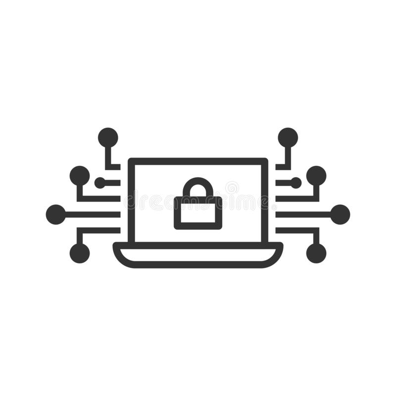 Cyber security icon in flat style. Padlock locked vector illustration on white isolated background. Laptop business concept stock illustration