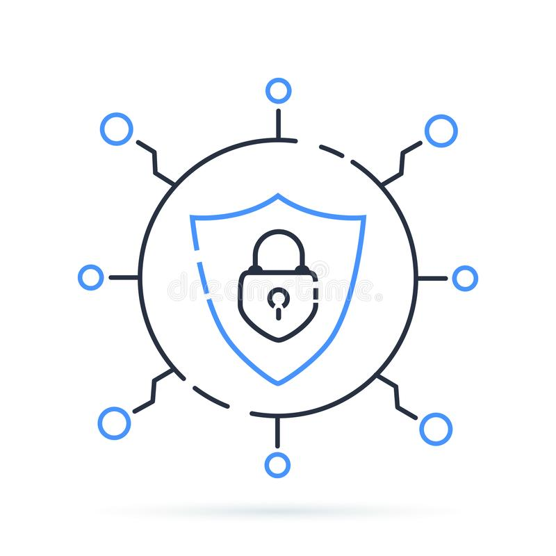 Cyber security icon. Vector illustration. Protection network with lock and shield. Closed Padlock information safety. vector illustration