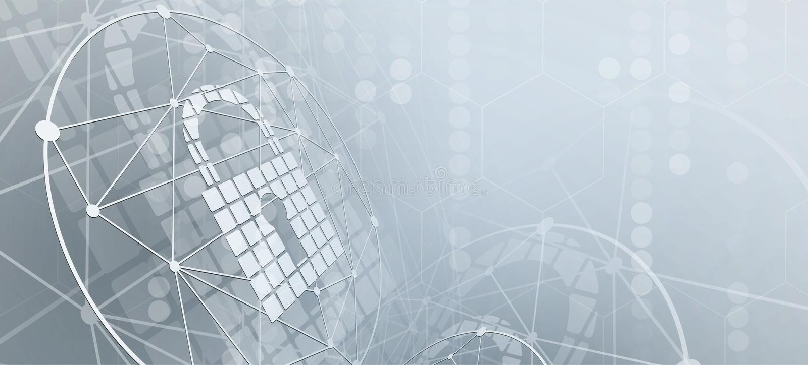 Cyber security and information or network protection. Future technology web services for business and internet project. Cyber security and information or network royalty free illustration