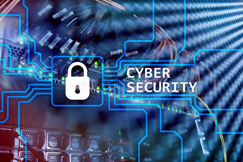 Cyber security, information privacy and data protection concept on server room background.  stock illustration
