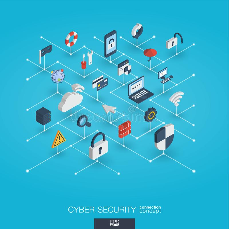 Cyber security integrated 3d web icons. Digital network isometric interact concept. vector illustration