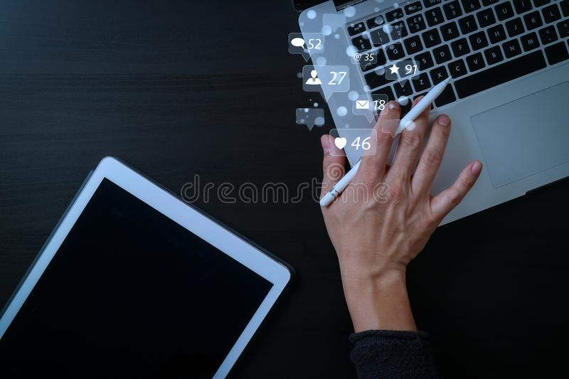 cyber security internet and networking concept.Businessman hand royalty free illustration