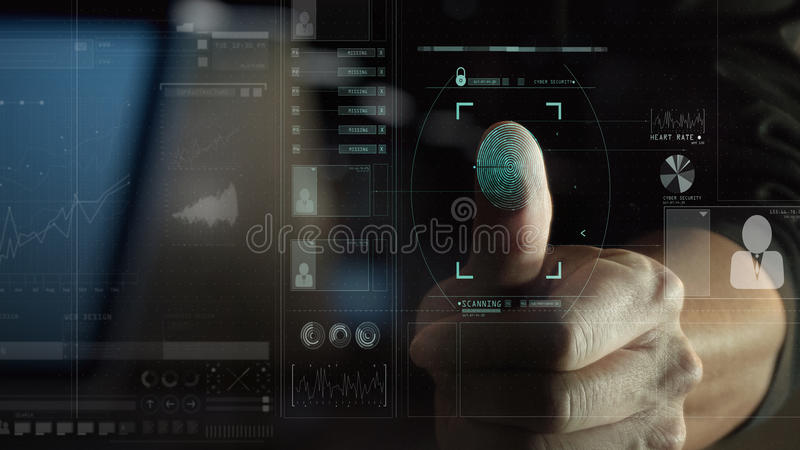 cyber security internet and networking concept.Businessman scanning fingerprint biometric identity for approval with VR interface stock image