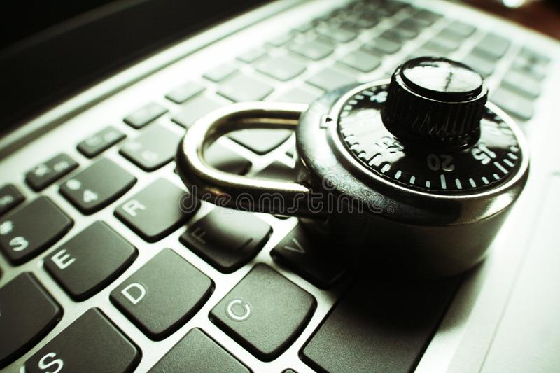 Cyber Security With Lock On Computer Keyboard Close Up High Quality royalty free stock image