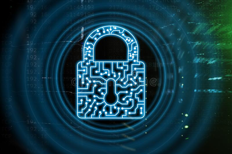 Cyber Security lock icon Information Privacy Data Protection internet and Technology concept royalty free stock image
