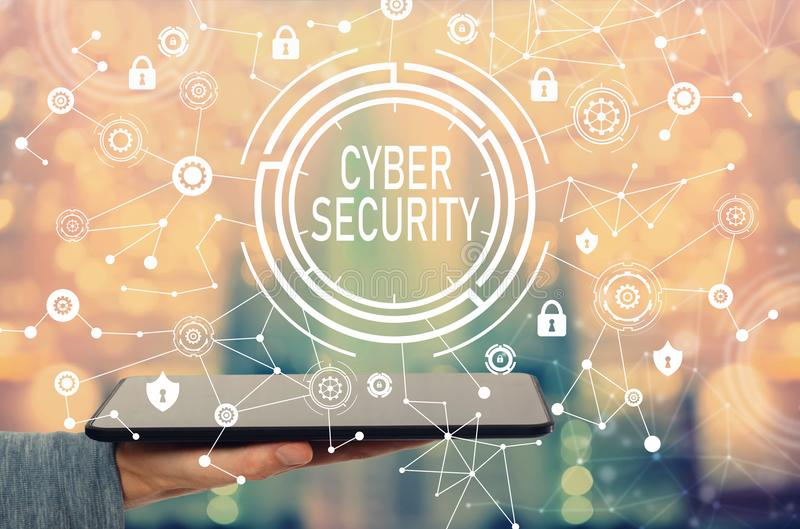 Cyber security with man holding a tablet. Computer royalty free stock photos