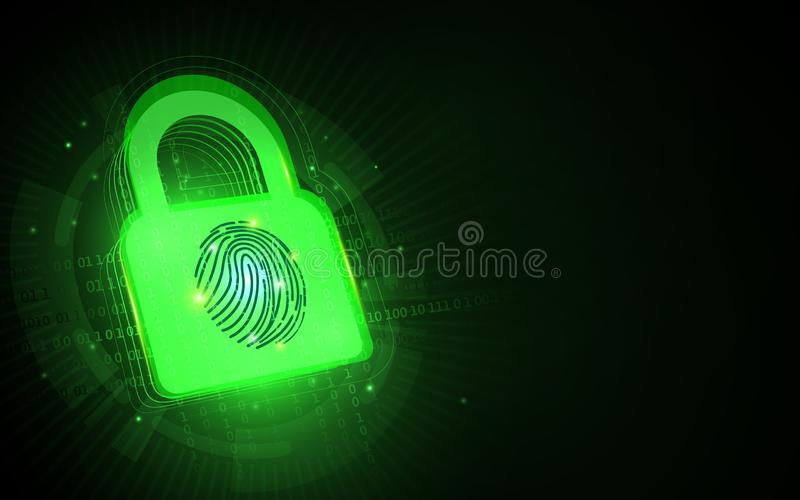 Cyber security and network protection. Padlock with fingerprint vector illustration