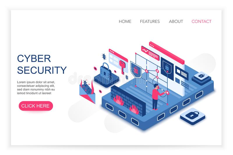 Cyber security, personal cloud data saving, privacy security concept 3d isometric web template vector illustration vector illustration