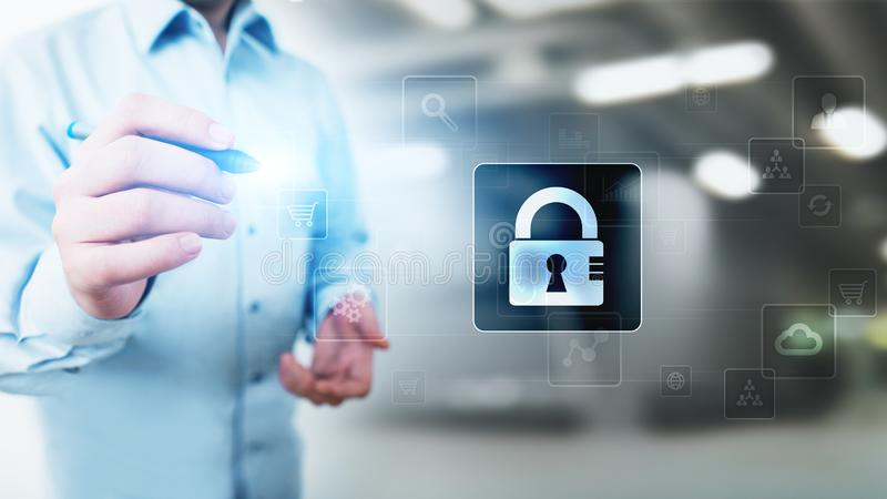 Cyber security, Personal data protection, information privacy. Padlock icon on virtual screen. technology concept. royalty free stock photos