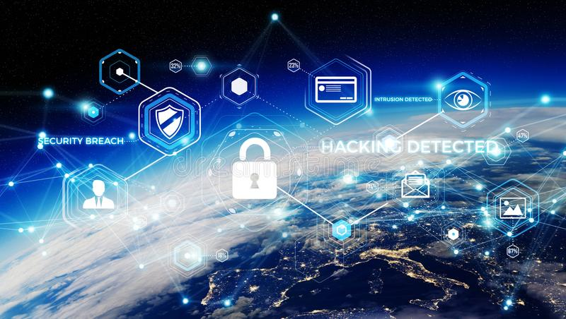 Cyber security on planet Earth 3D rendering stock illustration