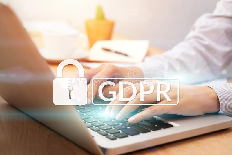 Cyber security and privacy concept. people using personal computer with text GDPR or General Data Protection Regulation text stock photo