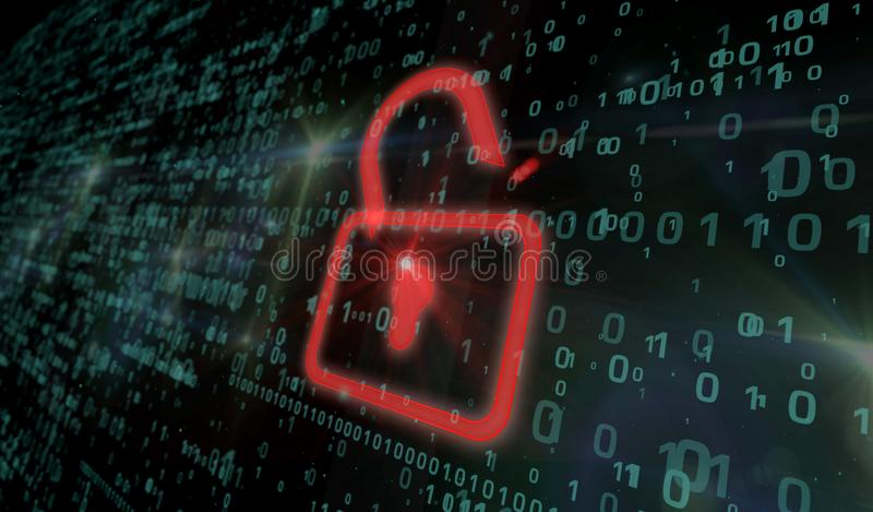 Cyber security - red padlock. Cyber security concept. Red padlock icon on digital background in 3d perspective view. Symbol of technology protection stock photos