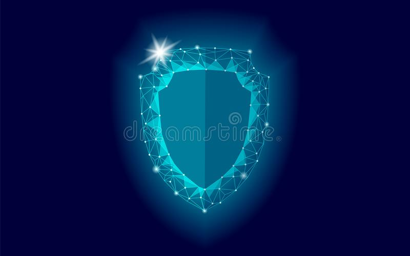 Cyber security safety shield low poly. Polygonal geometric glowing guard save from internet attack antivirus. Blue royalty free illustration