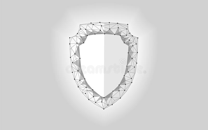 Cyber security safety shield low poly. Polygonal geometric glowing guard save from internet attack antivirus. Gray white royalty free illustration