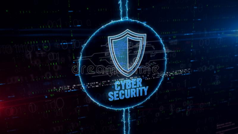 Cyber security with shield hologram in electric circle stock image