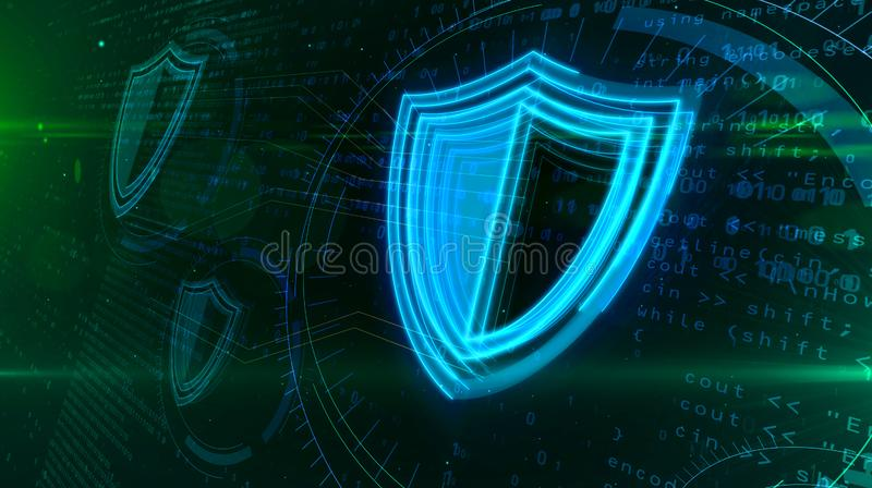 Cyber security with shield symbol loop abstract concept stock illustration