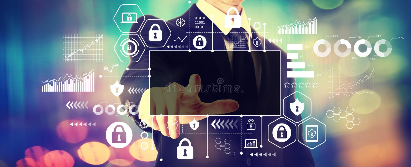 Cyber security theme with a businessman royalty free stock photography