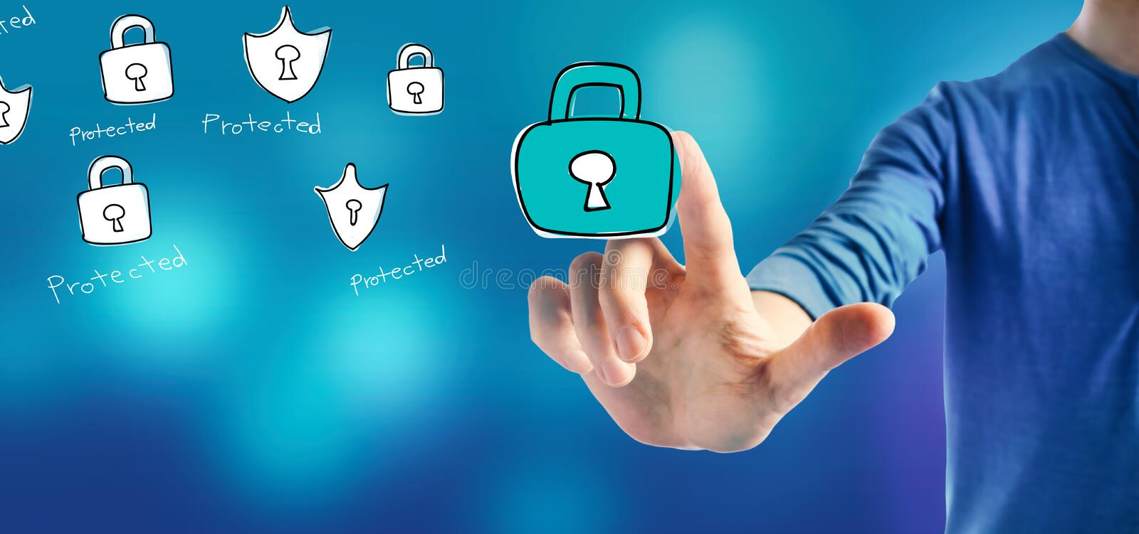 Cyber security theme with a man. On a blue background stock photos