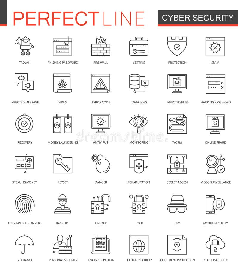 Cyber security thin line web icons set. Network safety outline stroke icons design. Cyber security thin line web icons set. Network safety outline stroke icons vector illustration