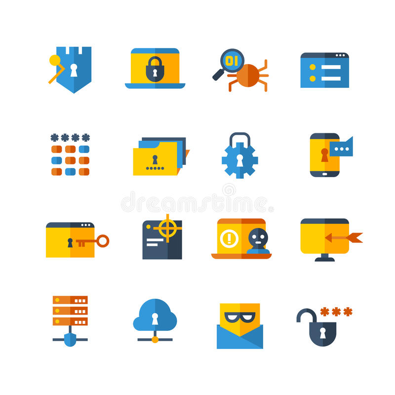 Viral Times Web: Cyber Security, Virus Web Protection Vector Flat Icons