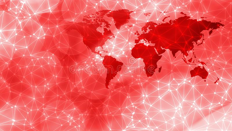 Cyber security world concept creative design conception. Connected dots with lines and graphic world map, creative abstract background. Global business or stock images